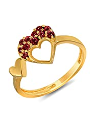 Mahi Valentine Love Gold Plated Red Heart Ring Made With Swarovski Elements For Women FR1104001GRed