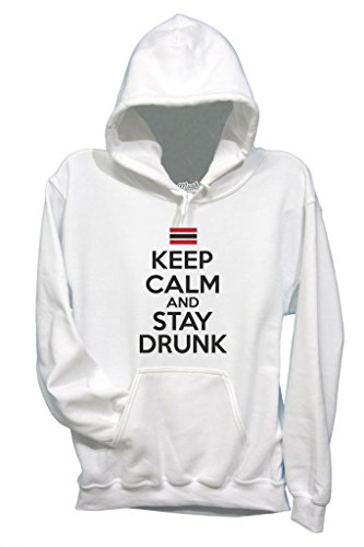 FELPA KEEP CALM AND STAY DRUNK-DIVERTENTE by MUSH Dress Your Style - Bambino-XL-BIANCA