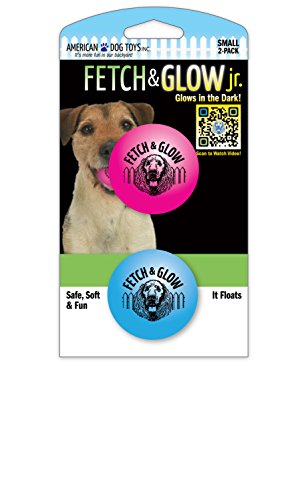 American Dog Toys Fetch and Glow Ball, Small, 2-Pack