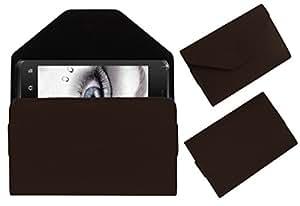 Acm Premium Pouch Case For Karbonn Smart A27 Flip Flap Cover Holder Brown
