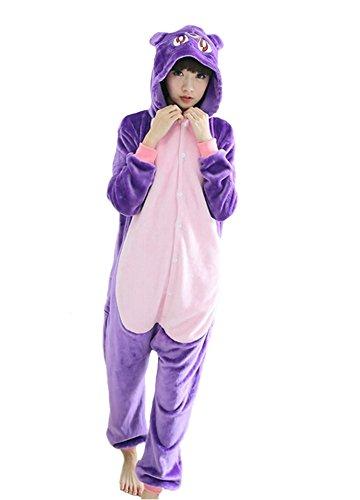 hot unisex costume carnevale Halloween Pigiama animali kigurumi cosplay Zoo onesies tuta-L/170-Gattino viola