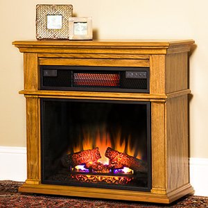 """Duraflame Chandler 23"""" 1000 Sq Ft Oak Portable Fireplace Spectrafire Infrared Heater - 23If1714-O107"""