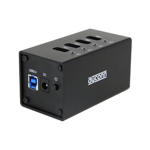 Dyconn Powerhub Super Speed 4-Port Industrial Grade Usb 3.0 Hub With Power Adapter, Alumunim Alloy