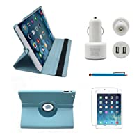 Tyso® USA 360 Degrees Rotating Stand PU Leather Case 5 in 1, For iPad Air / iPad 5 (5th Generation) Tablet + Pen + Protector + Car Charger + Headphone ,Automatic Sleep/Wake Feature (iPad Air, Lightblue 5 in 1) from TYSO USA