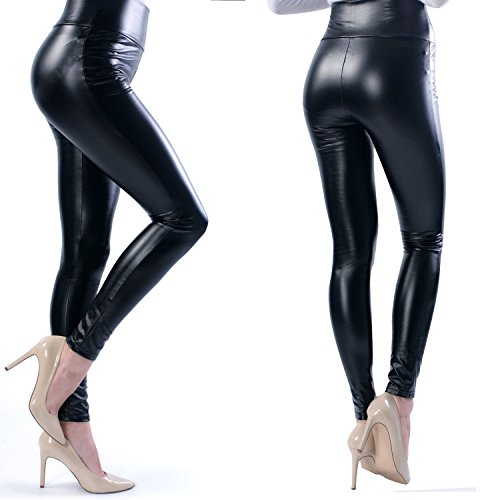 StarrY Womens Sexy Queen Slim Fit Wet Look Metallic Shiny Skinny Stretchy Thick High Waist Faux Leather Leggings Pants Black Size L (Plus Wet Look Pants compare prices)