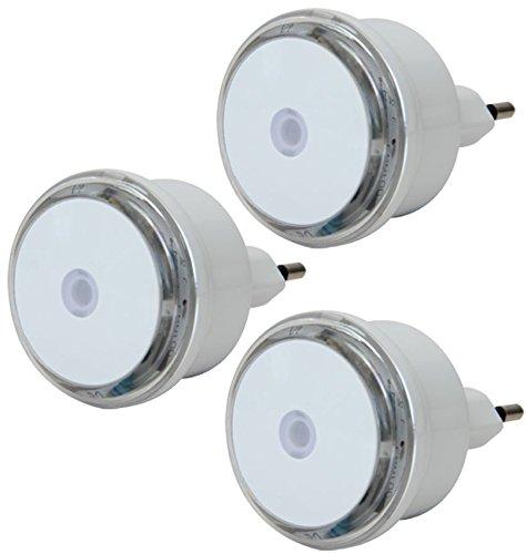 Electraline 92194 Set 3 Luci Notturne a LED, Sensore Crepuscolare, Bianco/Trasparente