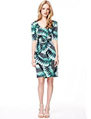 Autograph Geographic Tropical Print Twisted Front Dress