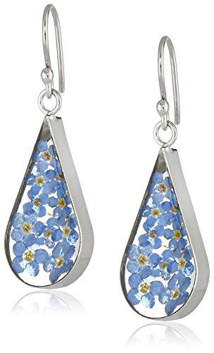 Sterling Silver Blue Pressed Flower Teardrop Earrings
