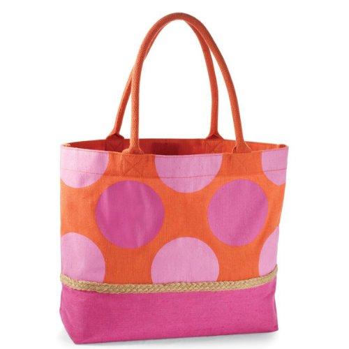 Mud Pie Polka Dot Shopping Bags (Pink) front-465735