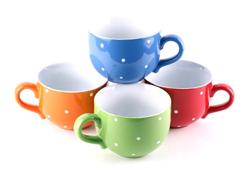 Set Of 4 Jumbo 18Oz Wide-Mouth Soup & Cereal Ceramic Coffee Mugs, Polka Dot