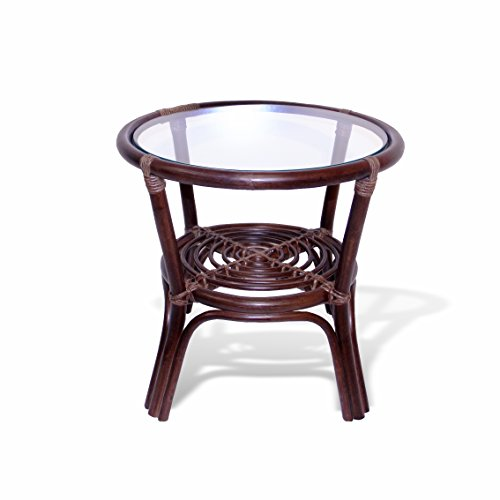 Rattan Wicker Round Accent End Table with Glass (Dark Brown) picture