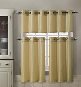 3 piece kitchen curtain set 1 valance 2 for Naaptol kitchen set 70 pieces