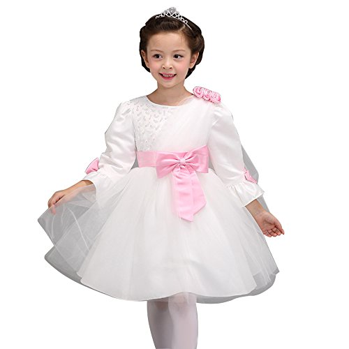 Spritech(TM) Baby Girls Autumn Lace Big Bowknot Bridesmaid Ball Gown Party Tutu Dress Pink+White (Party Ware Gowns compare prices)