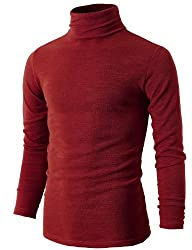 H2H Mens Basic Knitted Turtleneck Sli…