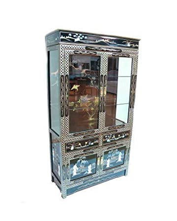 Oriental Chinese Black Wall Display Cabinet