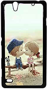 FCS Printed 2D Designer Hard Back Case For Sony Xperia C4 With Universal Mobile Stand