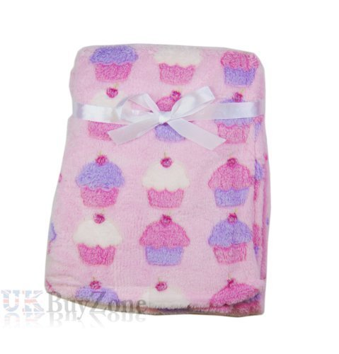 Baby-Newborn-Fleece-Blanket-Swaddling-Wrap-Swaddle-Hooded-Robe-Dressing-Gown-Girl-or-Boy-Pink-or-Blue-0-Months-Unisex-Baby-Blanket-Cupcakes