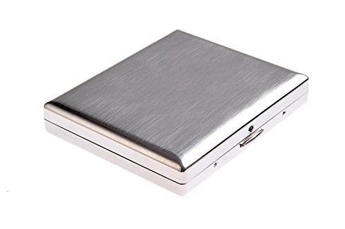 Portasigarette in acciaio inossidabile, classico minimalista, tiene fino a 18 sigarette, Mod. KC1-01 (DE)