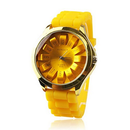 Fashionable Quartz Wrist Watch with Yellow Silicone Band Women's Watch