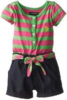 U.S. POLO ASSN. Little Girls' Henley Stripe Knit Top and Denim Short Romper