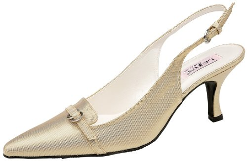 Lexus T023 Rachel ladies medium heel closed to shoe with plain buckle on front of shoe(4, Gold)
