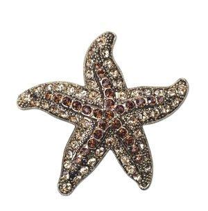 Annaleece Starfish Brooch Made with Swarovski Elements