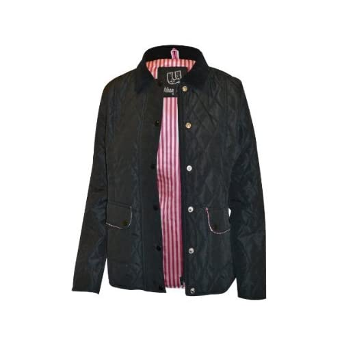 New womens quilted jacket ladies button zip coat