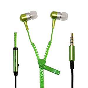 Zipper Style Earphones / Handfree For Nokia Lumia 1520 - Green