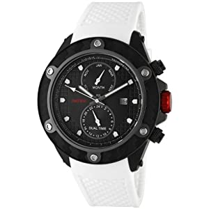 red line Men's 10119 Carbon Brake Dual Time Black Dial White Silicone Watch