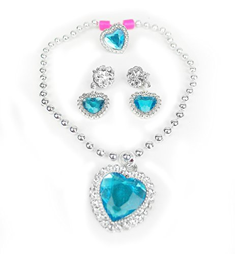 HXL Frozen Elsa Inspired Snow Princess Girls Heart Necklace Earrings Ring Jewelry Set