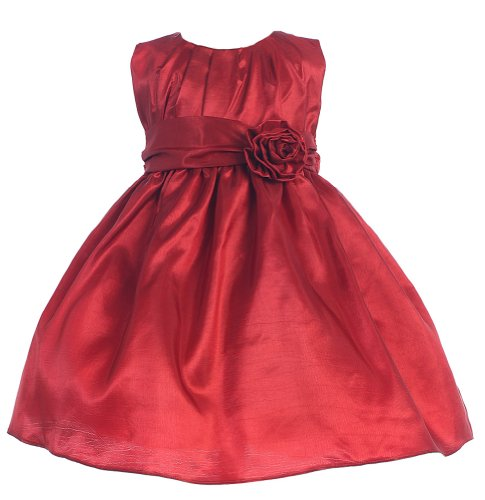 Baby-Girls Sweet Kids Pleated Taffeta Dress 12M Med Red (Sk B355) front-47509