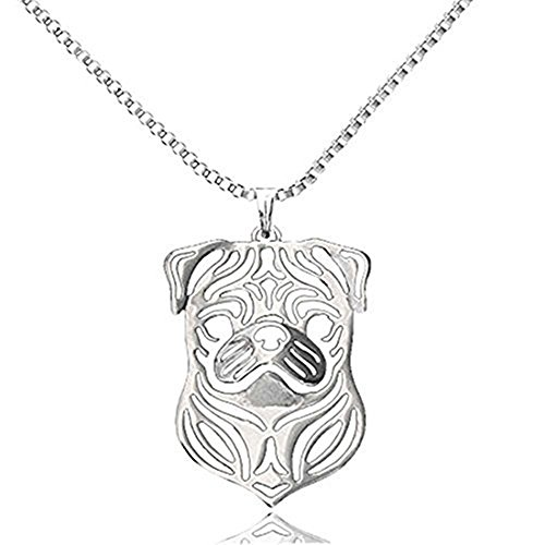 Pug Dog Animal Pendant Silver Plated Punk Pug Pendant Necklace for Pet Lovers