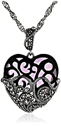 Sterling Silver Marcasite and Purple Glass Heart Pendant Necklace, 18""
