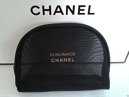 c2a302baed0c Chanel Black Netted Beauty Sublimage Cosmetics Makeup Bag 14 5 X 10 X 4 Cm