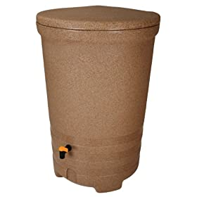 Fiskars 5998 Salsa II 58 Gallon Rain Barrel with DiverterPro - Spice Granite