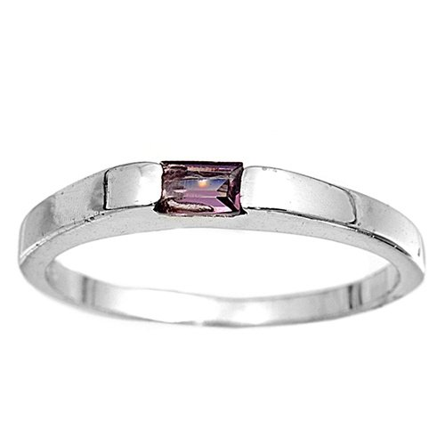 Sterling Silver Baby Ring with Amethyst Colored CZ - 2mm Band Width - 1mm Face Height - Sizes: 1-4