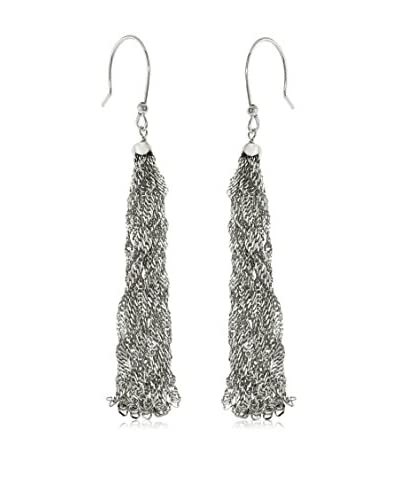 Juinsix Made in Italy Collection Rhodium-Plated Singapore Chain Hook Earrings