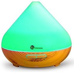 Diffusore di Aromi Ultrasuoni TaoTronics Vaporizzatore 7 Colori LED, Oli Essenziali, Purificatore aria, Diffusore essenze, Controllo per Vaporizzazione e Illuminazione, Timer per Auto Spegnimento ad Ultrasuoni 300 ml
