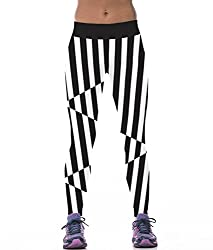 iSweven Classic Black And White Stripes Design Printed Polyester Multicolor Yoga pant Tight legging for womens girls