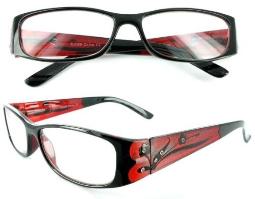 """Tiffany's Garden"" designer fashion reading glasses for youthful women who like to read with style. Ruby Shimmer +1.25"