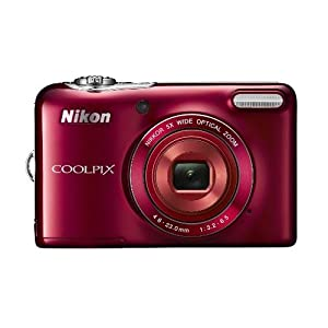 Nikon Coolpix L30 Compact Digital Camera - Red (20.1MP, 5x Optical Zoom) 3.0 inch LCD