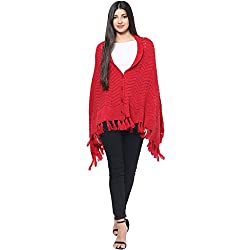 Cayman Red Solid Woollen Poncho