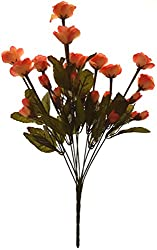 Fourwalls Artificial Mini Rose Bunch (10 Branches with 30 Flowers, Orange)