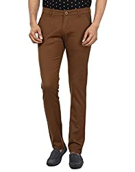 FEVER Men Solid Trousers, Brown
