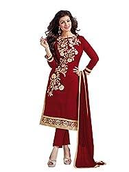 MANVAA Women's Silk Salwar Suit Dress Material(SMFDG5307E_Red)