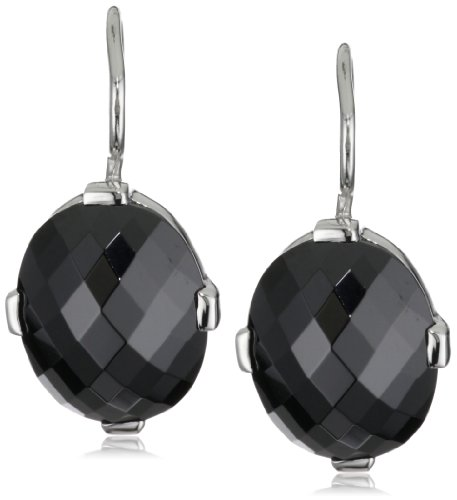 Giorgio Martello Sterling Silver Rhodium Plated Black Cubic Zirconium Earrings