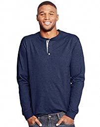Hanes Men\'s Long Sleeve Beefy Henley Shirt, Hanes Navy Heather, Large
