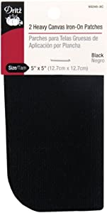 Dritz 55245-3C Heavy Canvas Iron-On Patches, Black, 5 by 5-Inch, 2-Pack