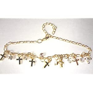 Religious Gift of Bling Rhinestone Cross Anklet in Gold Adjustable