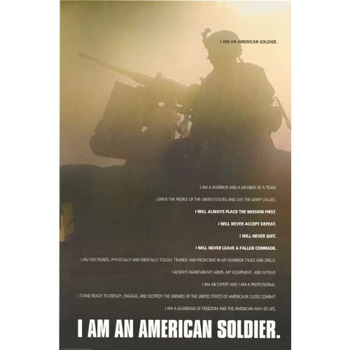 Amazon.com: American Soldier Poem - Soldier's Creed 24x36 Poster